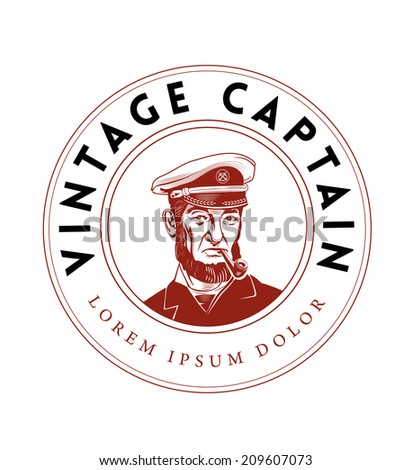 Vintage Captain Emblem. Bearded Ship Captain Smoking Pipe - stock vector