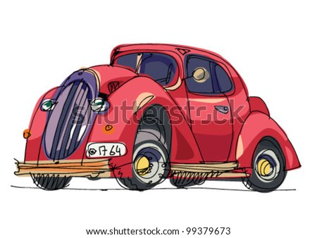 vintage car - cartoon - stock vector