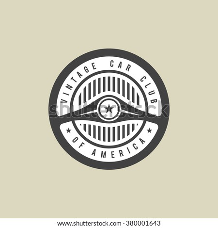Vintage car club labels. Vector emblem - stock vector