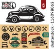 Vintage car garage labels and badges collection. Car service icons set. - stock vector