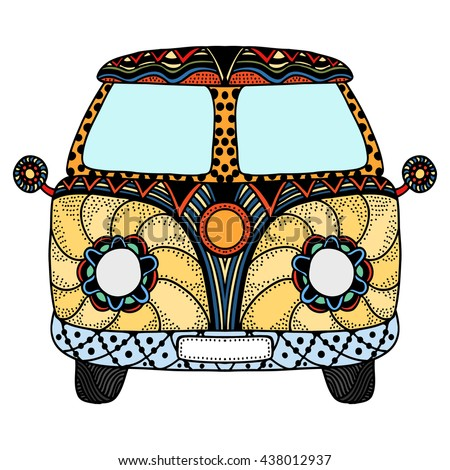 Vintage car. Hand drawn image. The popular bus model in the environment of the followers of the hippie movement. Vector illustration. - stock vector