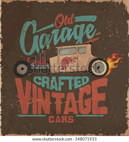 vintage car race car  - stock vector