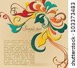 Vintage card design for greeting card, invitation, menu, cover on black background - stock vector