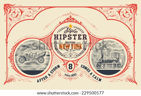 Vintage card design with engraving and  floral details. Organized by layers. - stock vector
