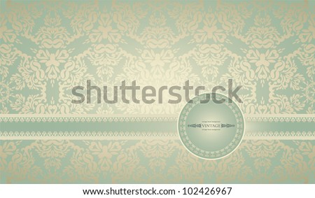 Vintage Card on Damask Seamless Wallpaper on gradient light background. Elegant design, round frame - stock vector