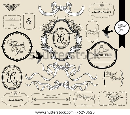 vintage card set - stock vector