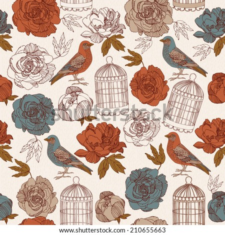 Vintage card. Spring. Bird with cages and blossoms flowers on light background. - stock vector