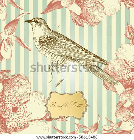 vintage card with a bird - stock vector