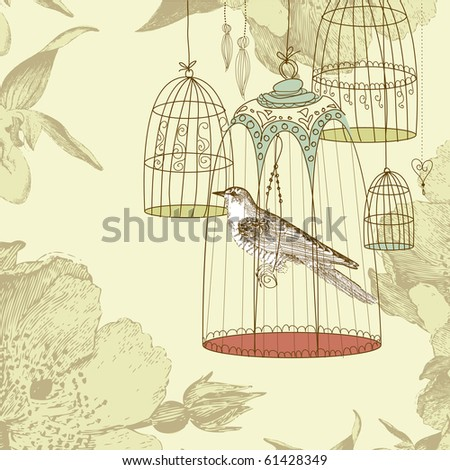 vintage card with a bird in the cage - stock vector