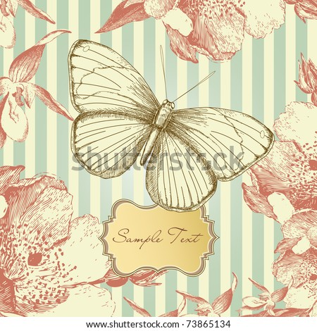 Vintage card with a butterfly - stock vector