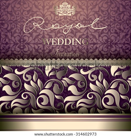 Vintage card with a 3d floral border on wallpaper - stock vector