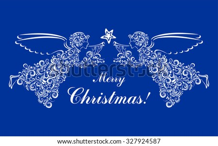 Vintage card with Angels and Christmas star isolated on blue background. Vector illustration - stock vector