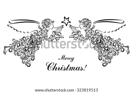 Vintage card with Angels and Christmas star isolated on White background. Vector illustration - stock vector