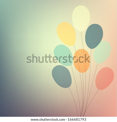 Vintage card with balloons - eps10 - stock vector
