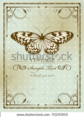 Vintage card with butterfly - stock vector