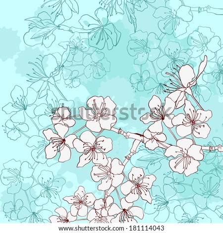 vintage card with cherry blossoms, vector illustration - stock vector