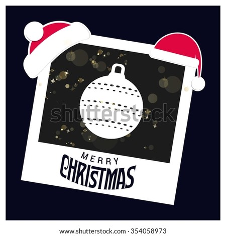 Vintage card with Christmas balls. vector illustration. Picture frame with Santa Hat on top and Merry Christmas typography - stock vector
