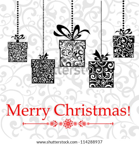 Vintage card with Christmas gifts. vector illustration - stock vector