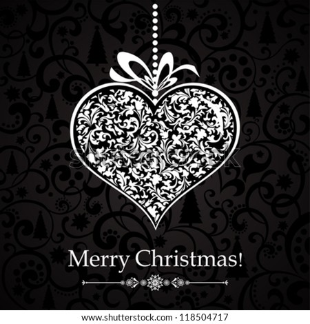 Vintage card with Christmas heart. vector illustration - stock vector