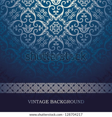 Vintage Card with damask background, luxury blue design - stock vector