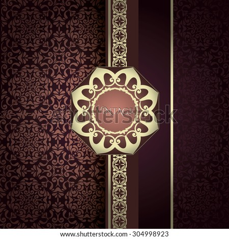 Vintage Card with damask background, luxury burgundy color design - stock vector