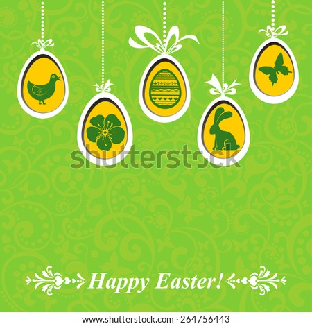 Vintage card with Easter eggs. vector illustration  - stock vector