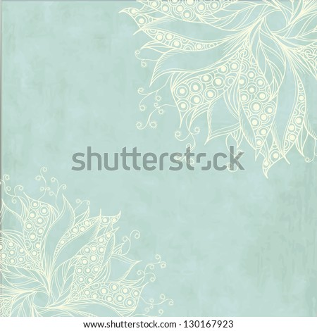 Vintage card with fantasy flowers - stock vector