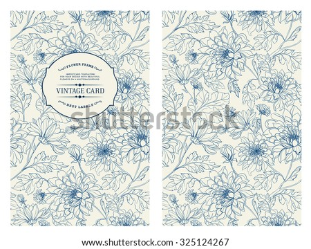 Vintage card with flowers on background. Book cover with flower texture. Blue lines on white background. Vector illustration. - stock vector