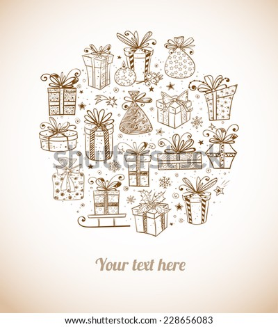 Vintage card with gift boxes. Vector illustration.  - stock vector