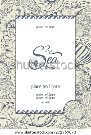 Vintage card with hand drawn sea elements - shells and corals. Vector illustration. - stock vector