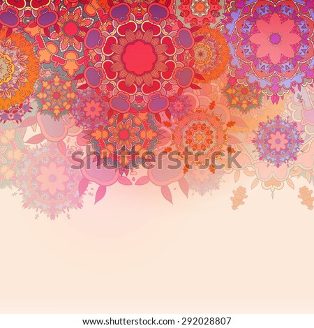 Vintage Card with Round Mandala Label and Horizontal Place for Text - stock vector