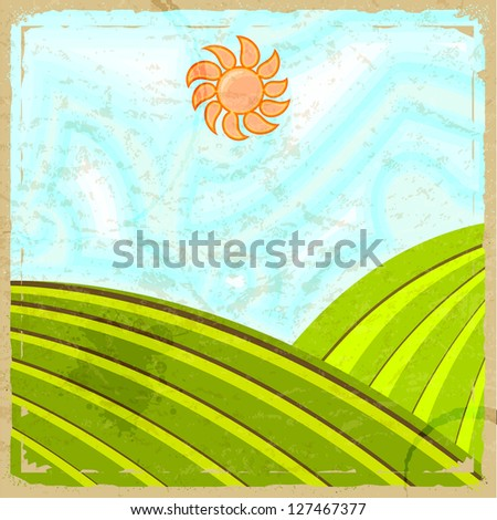 Vintage card with the image of the rural landscape - stock vector