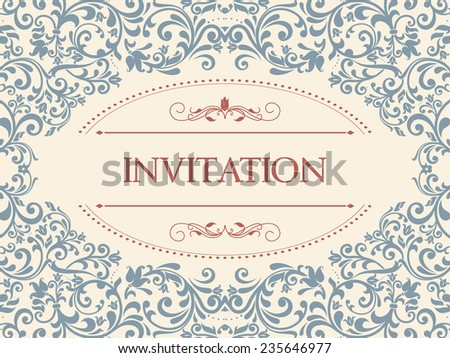 vintage card with victorian pattern - stock vector