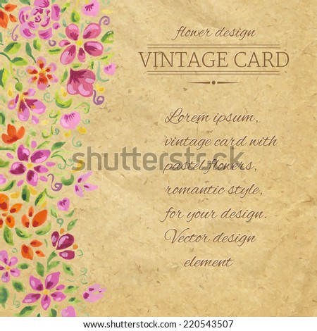 Vintage Card With Watercolor Flowers, Vector Illustration - stock vector