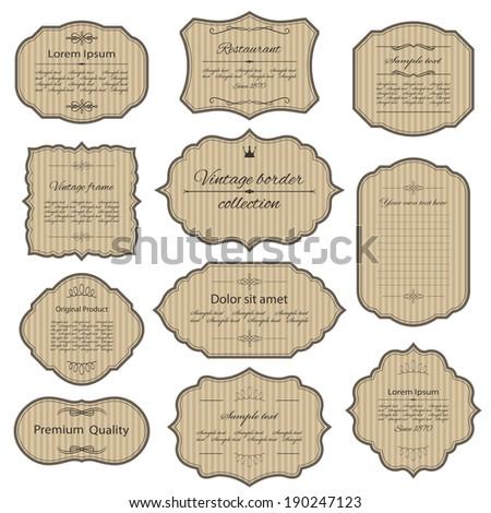 Vintage cardboard frames set. Calligraphic design elements. - stock vector