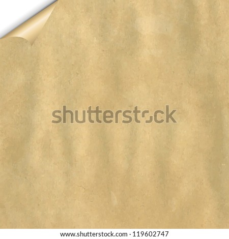 Vintage Cardboard With Corner With Gradient Mesh, Vector Illustration - stock vector