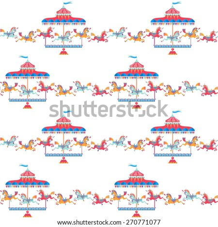 Vintage carousel horse. Seamless background pattern. Vector illustration - stock vector