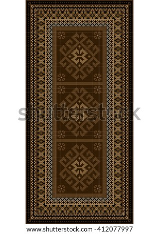 Vintage carpet with ethnic ornaments in brown shades  - stock vector