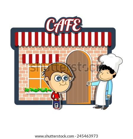 Vintage cartoon illustration of cafe or restaurant with hungry boy and chef inviting the visitor - stock vector