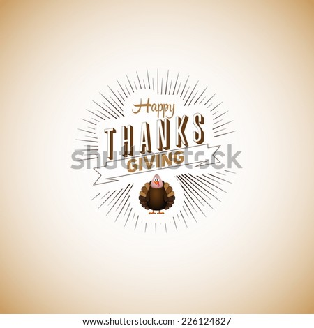 Vintage cartoon of turkey bird for Happy Thanksgiving celebration, can be use as flyer, poster or banner - stock vector