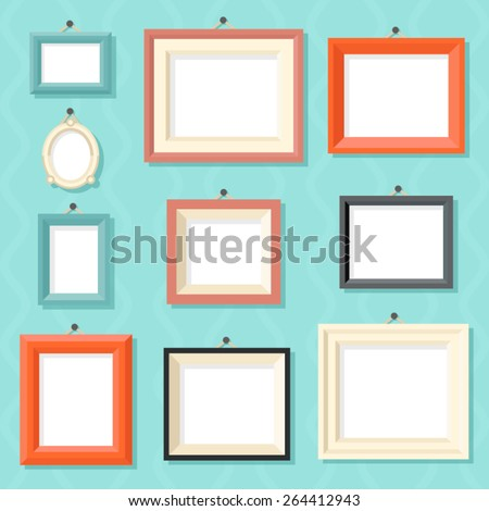 Vintage Cartoon Photo Picture Painting Drawing Frame Template Icon Set on Stylish Wall Background Retro Design Vector Illustration - stock vector