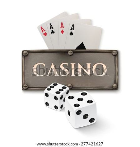 Vintage casino background with realistic metal banner, dice and playing cards, isolated on white background. Vector illustration - stock vector