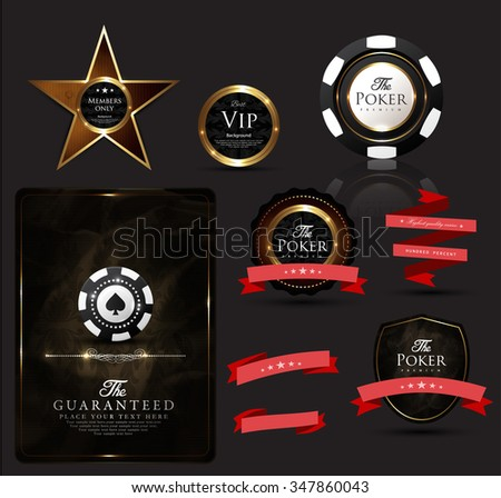 vintage casino collection-elegant-poker-chip-vip-ace - stock vector