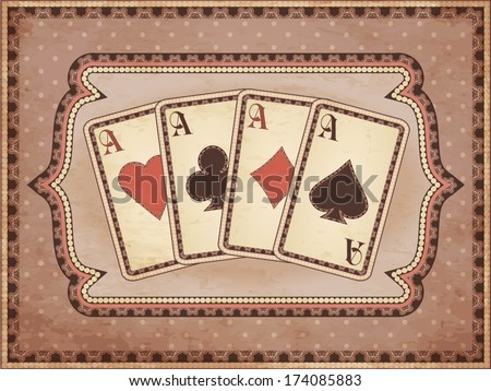 Vintage casino wallpaper with poker cards, vector illustration - stock vector