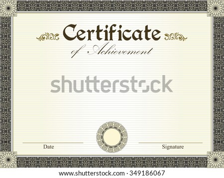 Vintage certificate of achievement with ornate elegant retro abstract floral design, black and gold flowers and leaves on striped pale yellow green background with frame border. Vector illustration.  - stock vector