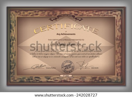 Vintage certificate template with detailed border and calligraphic elements on brown paper with safety watermarks in vector - stock vector