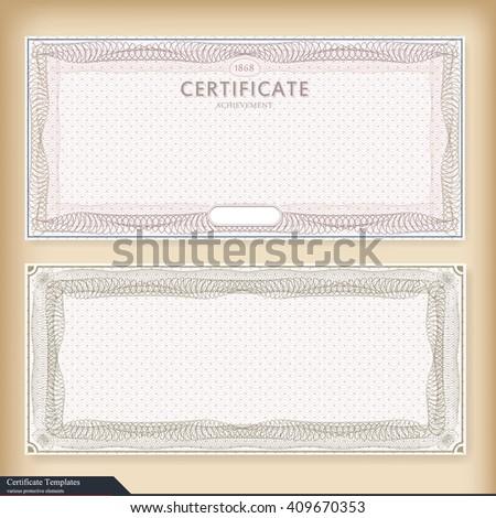 Vintage certificate template with watermark. Ornate gift certificate with watermark. Vintage style, design. Vector illustration. detailed vintage certificate template with guilloche border and seal - stock vector