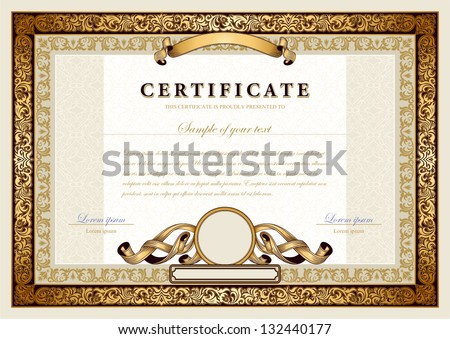 Vintage certificate with gold, luxury, ornamental frames, coupon, diploma, voucher, award template for achievements, progress business, education, art, medicine, etc. Ornate border, ornament elements. - stock vector