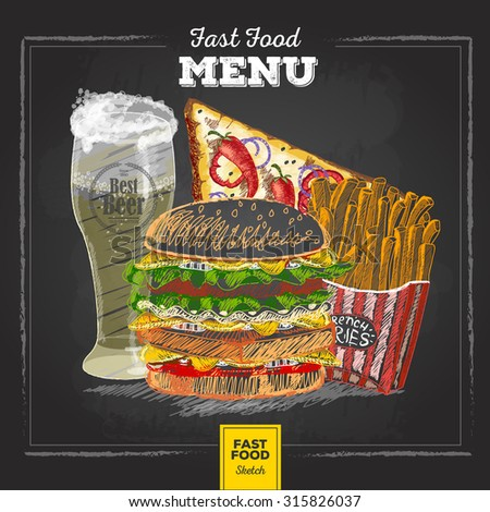 Vintage chalk drawing fast food menu.  - stock vector