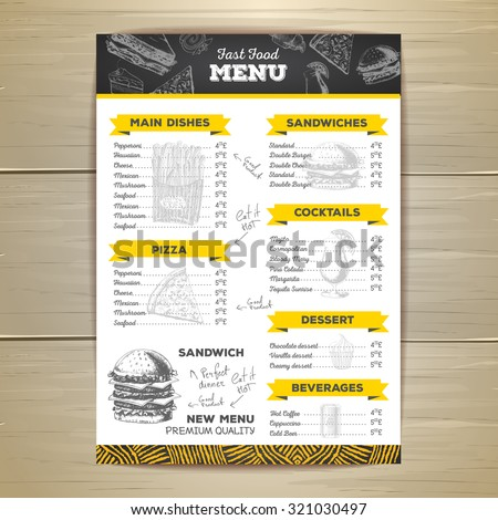 Vintage chalk drawing fast food menu design.  - stock vector